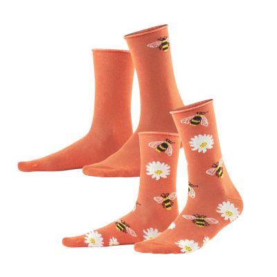 Lot de 2 paires de chaussettes corail en coton bio abeilles