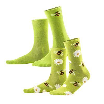 Lot de 2 paires de chaussettes vertes en coton bio abeilles