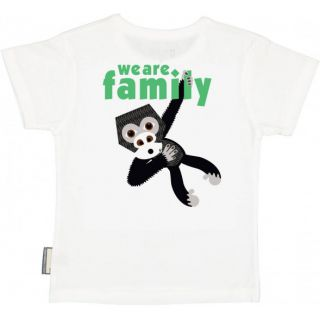 T-shirt coton bio blanc verso Gorille avec le soutien à l'association We are Family