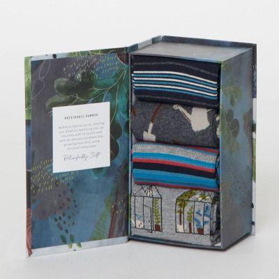 Boîte cadeau 4 paires de chaussettes bambou thème jardinage