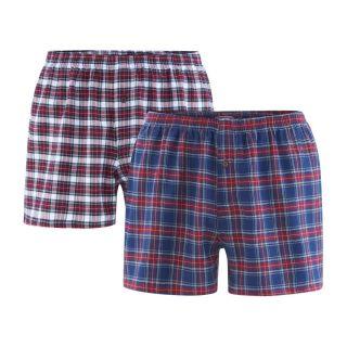 Lot de 2 caleçons homme écossais bleu et rouge coton bio