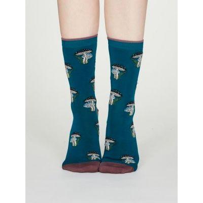 Chaussettes bleues bambou femme imprimé champignons