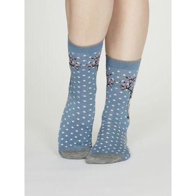 Chaussettes bleues bambou femme motif renne
