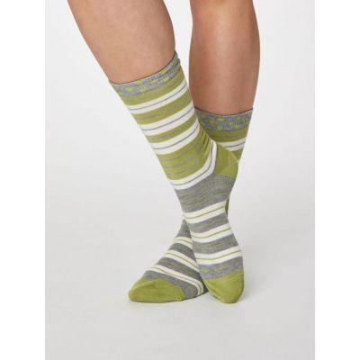Chaussettes vertes bambou femmes à rayures et pois