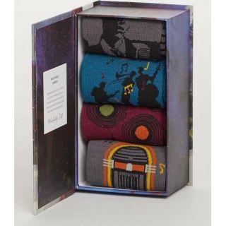Coffrets cadeaux bio 4 paires de chaussettes homme en bambou thème jazz