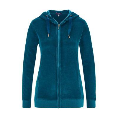 Veste femme, sweat à capuche velour 100% coton bio bleu