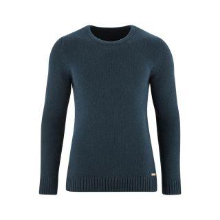 Pullover laine bio et coton bio, bleu pétrole