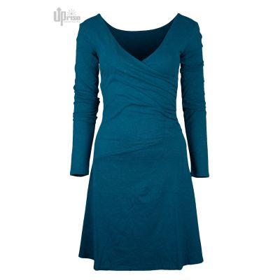 Robe éthique bleu chanvre et coton bio