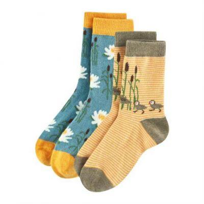 Lot de 2 paires chaussettes enfant fleurs canards