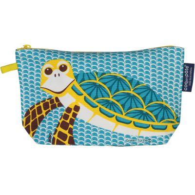 Trousse bleue polyvalente avec soufflet, imprimé tortue