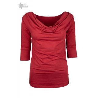 Haut col drapé rouge chanvre et coton bio
