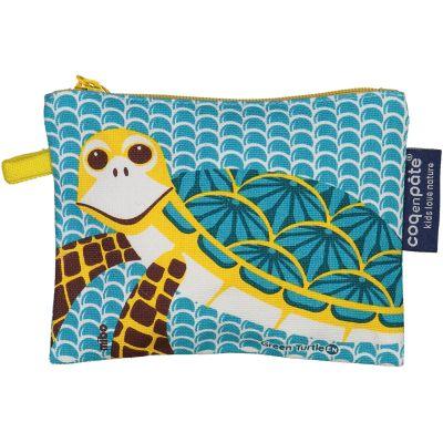 Porte-monnaie bleu enfant en coton bio tortue