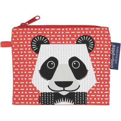 Porte-monnaie rouge en coton bio panda
