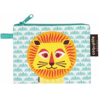 Porte-monnaie bleu avec imprimé lion, composition coton bio