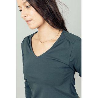 Tee shirt manches longues bleu composé de coton bio