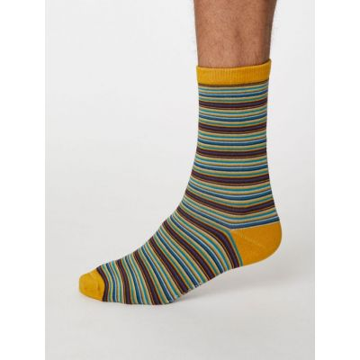 Chaussettes rayées moutarde marine rayées en bambou