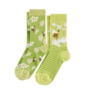 lots de 2 paires de chaussettes coton bio vertes avec motifs abeilles