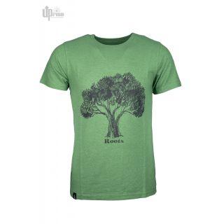 Tee shirt vert chanvre coton imprimé Roots