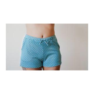 Short de nuit femme 100% coton biologique bleu turquoise