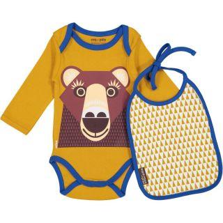 Ensemble body et bavoir, ocre imprimé d'un ours brun