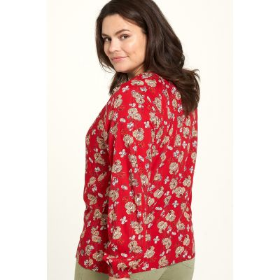 Chemise fleurie rouge EcoVero dos
