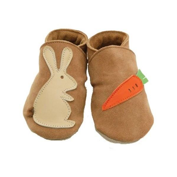 chaussons cuir souple sable lapin et carotte sao bio. Black Bedroom Furniture Sets. Home Design Ideas