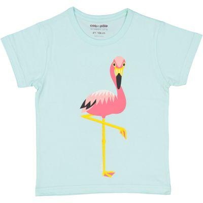 T-Shirt Coton Bio Bleu Flamant avant