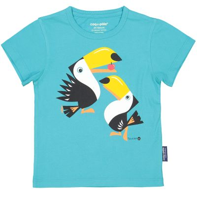 T-Shirt Coton Bio bleu Toucan avant