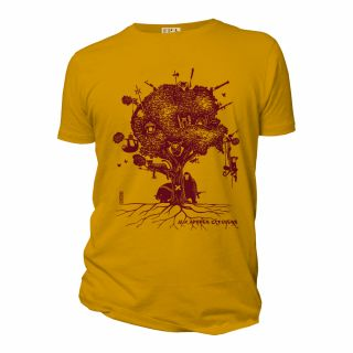 Tee-shirt ocre coton bio Aux arbres citoyens face