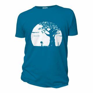 Tee-shirt coton bio Pousse bleu face