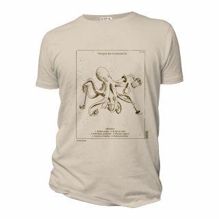 Tee-shirt coton bio Octopus beige face