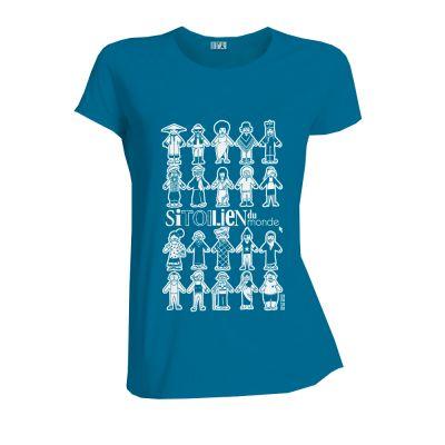 Tee-Shirt en coton bio bleu face