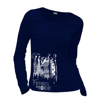 Tee-Shirt en coton bio bleu marine Femmes du monde face