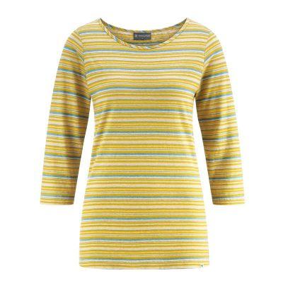 T-Shirt rayé manches longues en coton bio et chanvre jaune