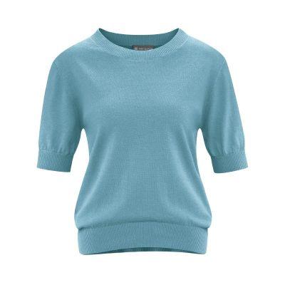 Pull manche courte chanvre et coton bio bleu