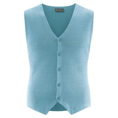 Gilet de costume chanvre coton bio bleu clair