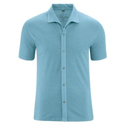 Hempage Chemise jersey en coton bio et chanvre Bleu