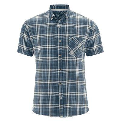 Chemise à carreaux coton bio et chanvre bleu
