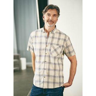 Chemise à carreaux coton bio et chanvre Blanc Hempage