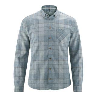 Chemise à carreaux couleur bleue contrastée coton bio et chanvre