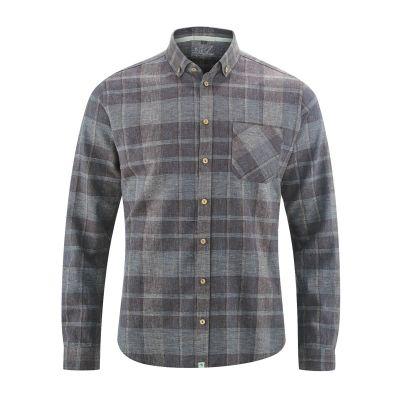 Chemise à carreaux couleur grise contrastée coton bio et chanvre