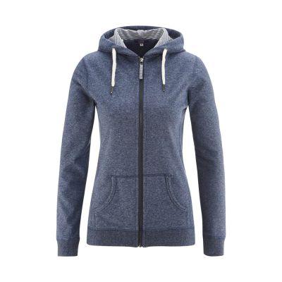 Veste bleue femme, zippée à capuche 100% coton bio