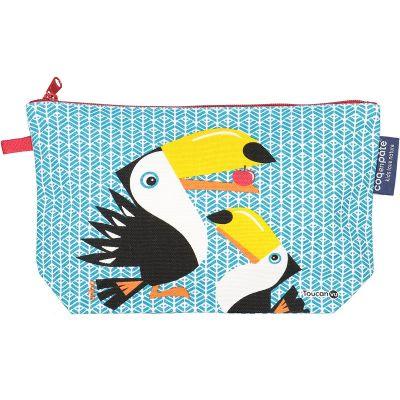 Trousse bleue polyvalente avec soufflet, imprimé toucan, vue de face