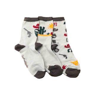 Chaussettes despareillées vendues par 3 chaussettes, pour enfant imprimé cowboy