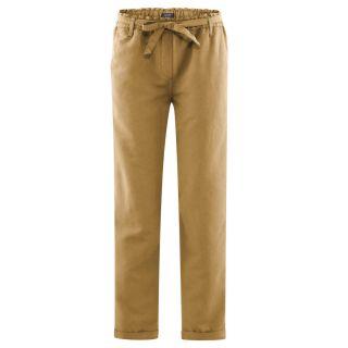 Pantalon femme lin bio et coton bio marron de la marque Living Crafts