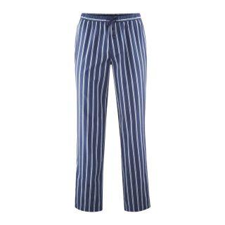 Pantalon de pyjama rayures bleues et blanches en coton biologique