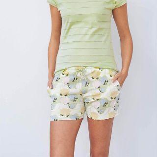Short de nuit vert bleu pastel en coton bio pour femme