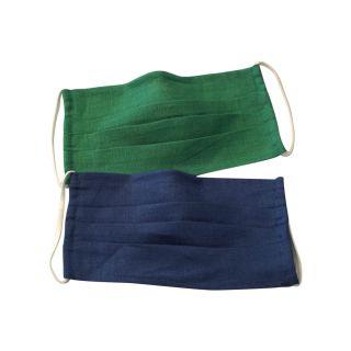 Lot de 2 masques en lin bio bleu et vert