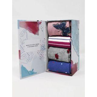 Boîte cadeau 4 paires de chaussettes forêt Bamboo