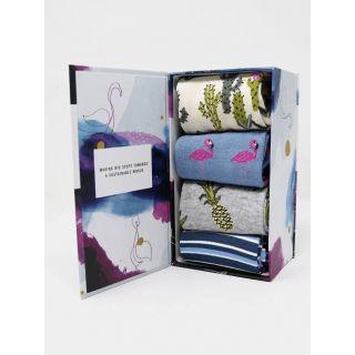 Boîte cadeau 4 paires de chaussettes nettie Summer Bamboo coffret ouvert